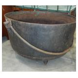 LARGE CAST IRON FOOTED KETTTLE