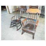 2 EARLY PLANK SEAT CHILD ROCKING CHAIRS