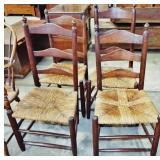 4 ARROW BACK RUSH SEAT CHAIRS