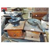 2 EARLY WOOD BOX STYLE COFFEE GRINDERS