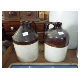 2 BROWN OVER WHITE STONEWARE CROCK JUGS