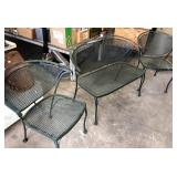 RETRO METAL PATIO CHAIRS AND LOVESEAT