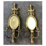 PAIR METAL MIRRORED WALL CANDLE SCONCES