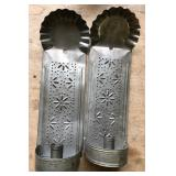 2 PUNCHED TIN CANDLE SCONCES