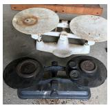 2 CAST IRON BALANCE SCALES AND WEIGHTS