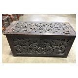 FRETWORK WOOD CARVED CHEST