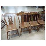 4 DECORATED PLANK SEAT CHAIRS