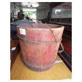 EARLY RED PAINT WOOD BUCKET