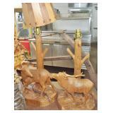 CARVED WOOD DEER LAMPS