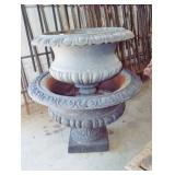 2 EARLY CAST IRON PLANTER URNS