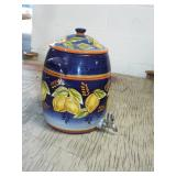 DECORATED POTTERY WATER COOLER