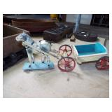 FOLKART TOY HORSE AND CART