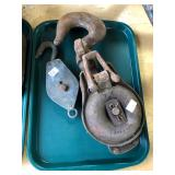 2 METAL BLOCK PULLEYS