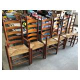 6 LADDER BACK RUSH SEAT CHAIRS
