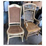 STUDIO WICKER ROCKING CHAIR AND CHAIR