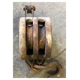 WOODEN DOUBLE PULLEY