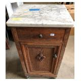 VICTORIAN WHITE MARBLE TOP NIGHTSTAND