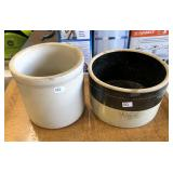 2 ASSORTED STONEWARE CANNING CROCKS