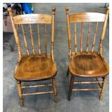2 PRESSED BACK SPINDLE CHAIRS