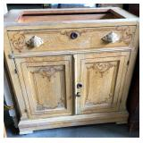 VICTORIAN CARVED PULL WASHSTAND
