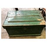 EARLY WOOD GREEN PAINTED TOOL CHEST