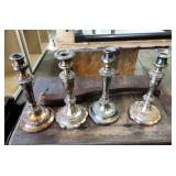 4 SILVER PLATED CANDLESTICKS