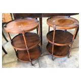 2 MAHOGANY 3 TIER MUFFIN STANDS