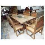 EARLY PLANK TABLE AND CHAIRS