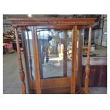 FANCY OAK BOW FRONT CHINA CABINET