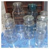 ASSORTED GLASS LID JARS