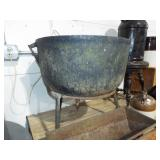 LARGE CAST IRON SOAP POT WITH BASE