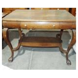 QUARTER SAWN LIBRARY TABLE WITH BOWED LEGS