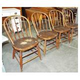 4 SPINDLE BOWED BACK CHAIRS