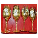 4 GOLD OVER CRANBERRY STEMWARE