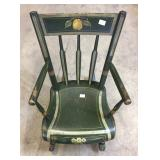 EARLY DECORATED PLANK SEAT ARM ROCKER