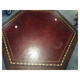 LEATHER TOP HEXAGON LAMP TABLE