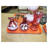 MARY GREGORY TYPE CRUET AND VASES