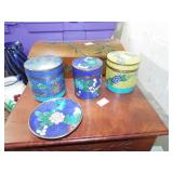 CLOISONNE COVERED BOXES AND PLATE