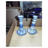 FANCY DECORATED CHINA CANDLESTICKS