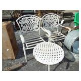 FANCY CAST IRON CHAIRS AND TABLE