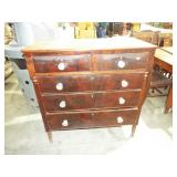 2 OVER 3 DRAWER MAHOGANY HIGH CHEST