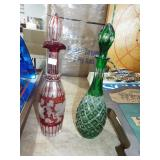 TALL BOHEMIA GLASS CUT TO CLEAR CECANTERS