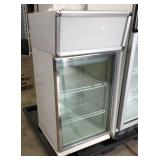"Countertop Glass Door Cooler, 22"" X 26"" X 46"" high."