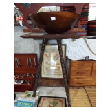 LARGE WOOD BOWL AND CANDLESTAND