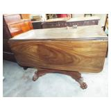 CLAW FOOTED DROP LEAF GAME TABLE