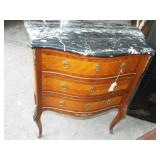 SWELL FRONT MARBLE TOP FRENCH STAND