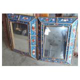 2 DECORATIVE FRAMED MIRRORS