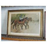 EARLY FRAMED HORSE RACING PRINT