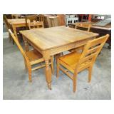 SQUARE OAK EXTENSION TABLE AND CHAIRS