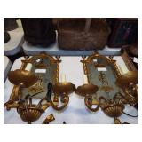 2 MIRRORED  CANDLE WALL SCONSES